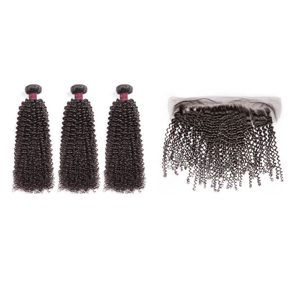 Kinky Curly Brazilian Hair 3 Bundles With Lace Frontal