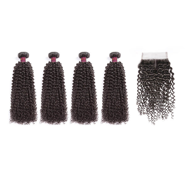 Kinky Curly Brazilian Hair 4 Bundles With Lace Closure