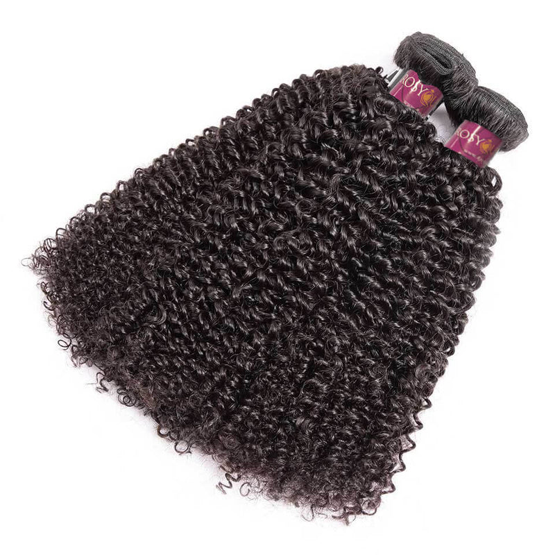 Natural Black Kinky Curly 100% Human Virgin Hair Bundles