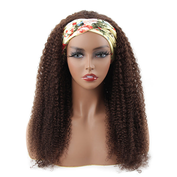 Kinky Curly Headband Wig #4 Medium Brown 150% Density Glueless Human Hair Wig Affordable Price (Get Five Free Headbands)