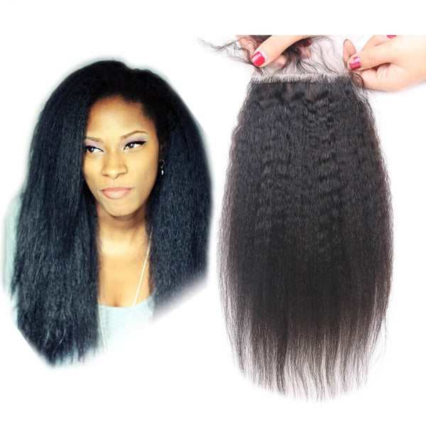 Kinky Straight Natural Black 4x4 Lace Closure With Baby Hair