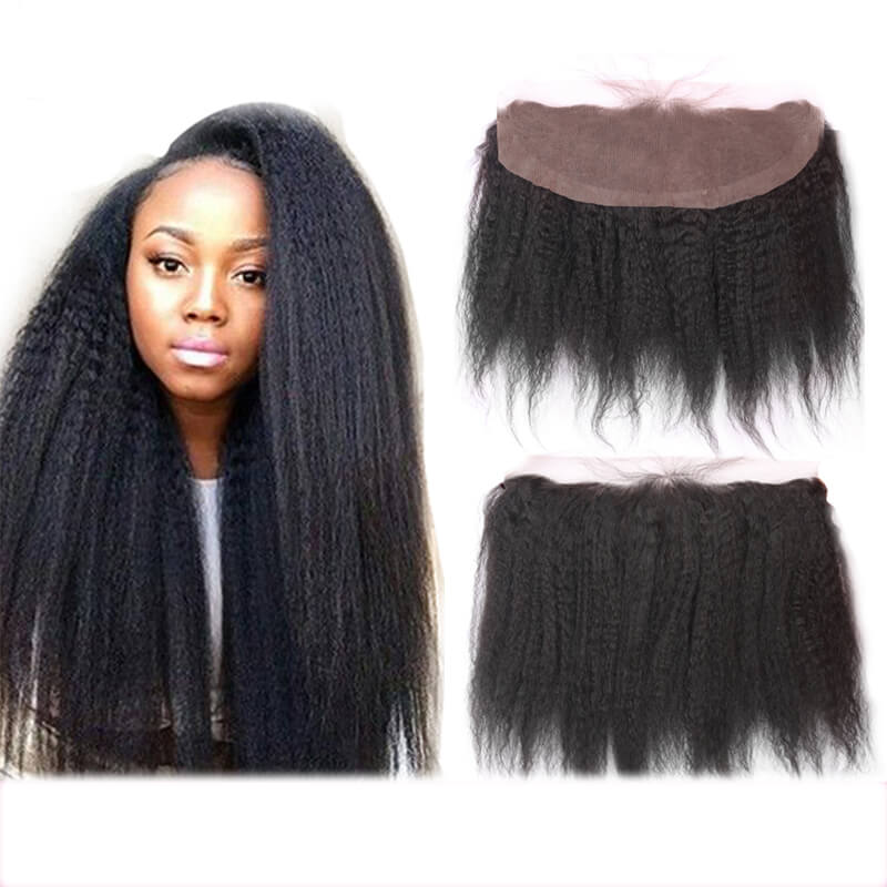 Kinky Straight Natural Black 13x4 Lace Frontal