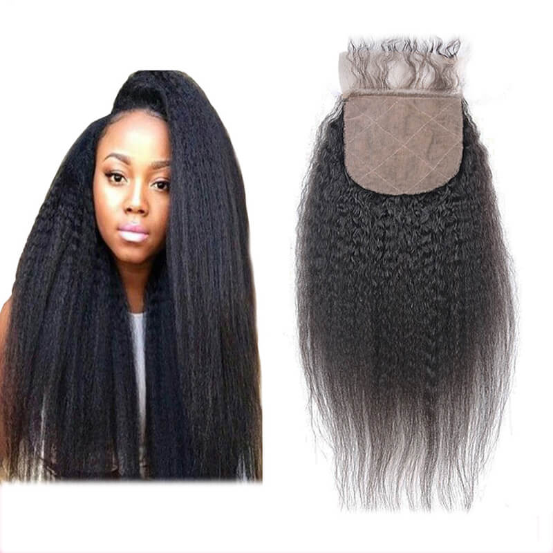 Kinky Straight Natural Black Silk Base Closure With Baby Hair