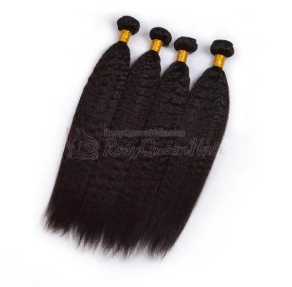 Natural Black #1B Italian Yaki Coarse Yaki 100% Human Virgin Hair Bundles