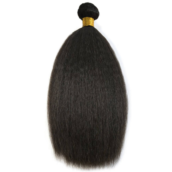 Natural Black Kinky Straight Coarse Yaki 100% Human Virgin Hair Bundles