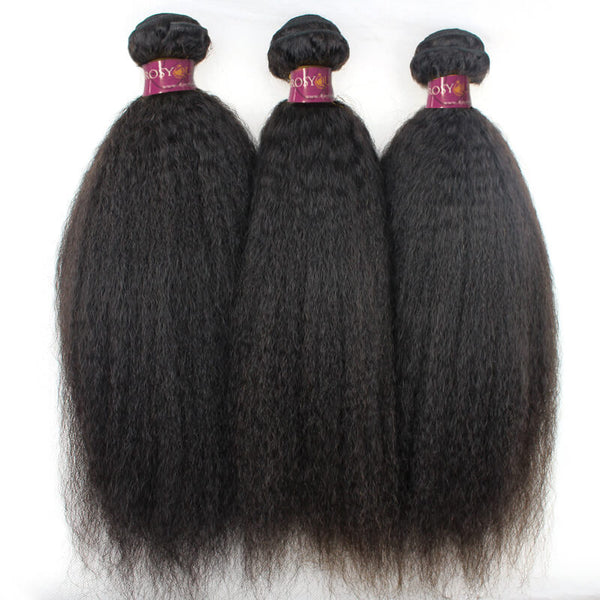 Kinky Straight Brazilian Hair 4 Bundles With Lace Closure