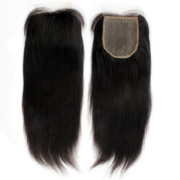Yaki Straight Natural Black 4x4 Lace Closure With Baby Hair