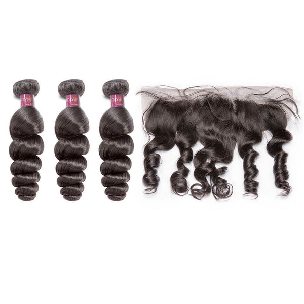 Loose Wave Brazilian Hair 3 Bundles With Lace Frontal
