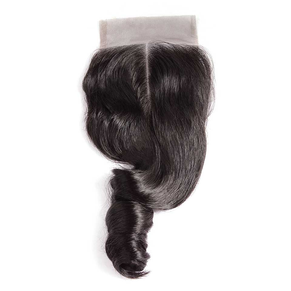 Loose Wave Natural Black 4x4 Lace Closure With Baby Hair