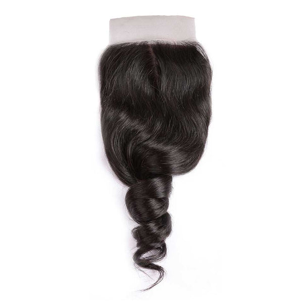 Loose Wave Natural Black Silk Base Closure With Baby Hair