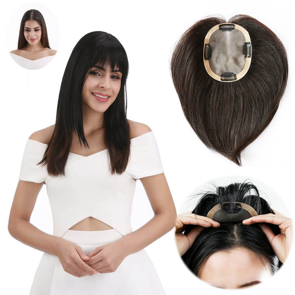 Mono Topper Human Hair Clip on Hair Piece 3D Air Bangs for Women with Thinning Hair