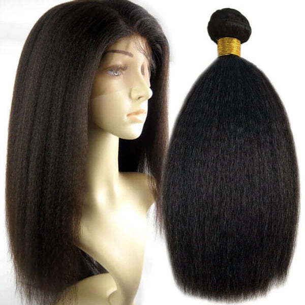 Natural Black Italian Yaki Coarse Yaki 100% Human Virgin Hair Bundles