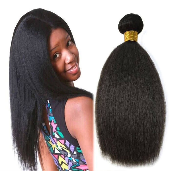 Kinky Straight Coarse Yaki Natural Black Brazilian Virgin Hair Weave