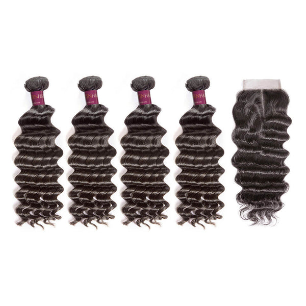 Natural Wave Brazilian Hair 4 Bundles With Lace Closure