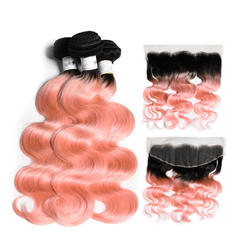 "FESHFEN 2018 New 14""-30 Black Pink Ombre Hair Two Tones Hair Weave ... 