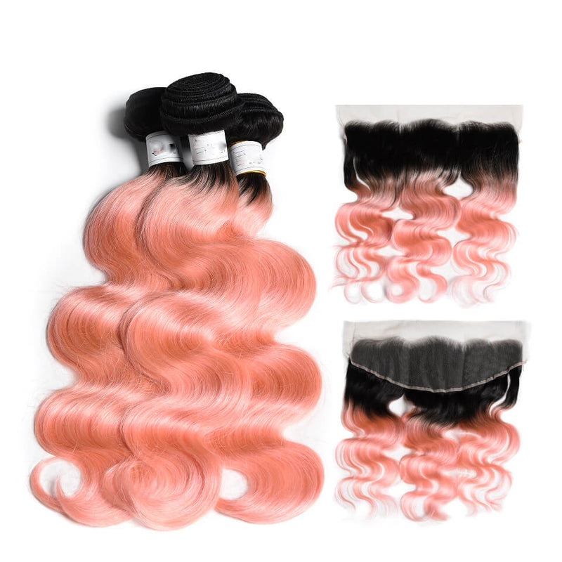 Body Wave Ombre Hair Two Tone Colored #1B/Pink Rose Gold 100% Human Hair Weave