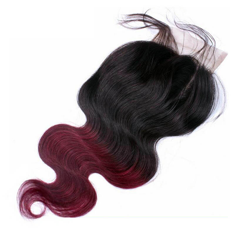 1B/99J Two Tone Color Lace Closure With Baby Hair
