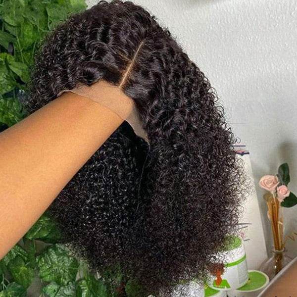 13*6 Lace Front Bob Wig Kinky Curly Natural Black Deep Parting Pre-Plucked