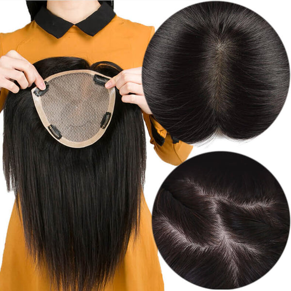 Silk Base Human Hair Topper Toupee For Hair Loss or Thin Hair