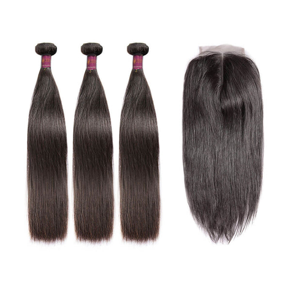 Lace Closure With 3 Bundles Straight Virgin Brazilian Hair Weaves