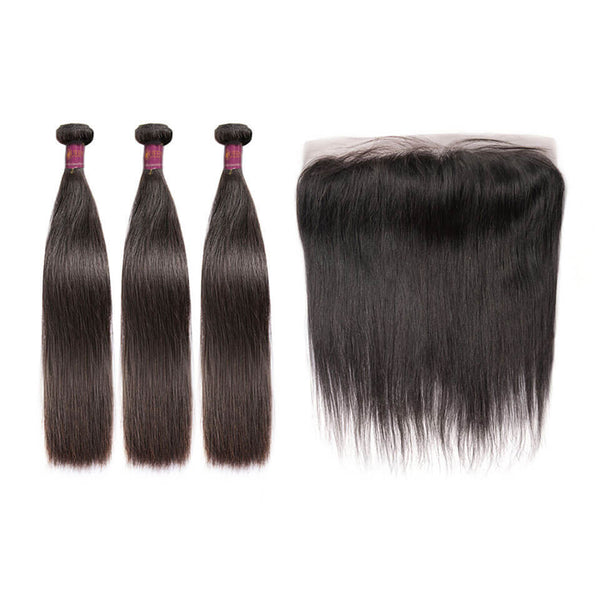 Straight Brazilian Hair 3 Bundles With Lace Frontal