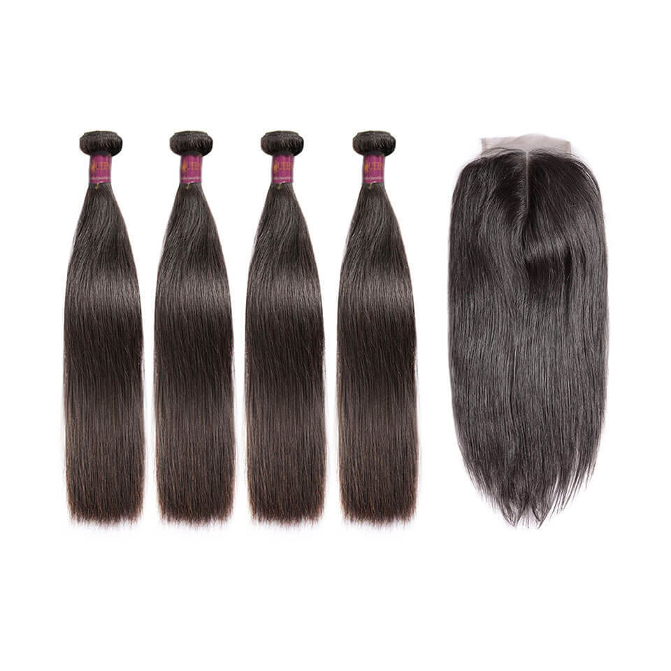 Straight Brazilian Hair 4 Bundles With Lace Closure