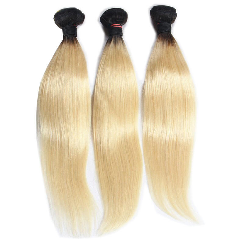 Straight Ombre Hair Two Tone Colored #1B/613 100% Human Hair Extensions