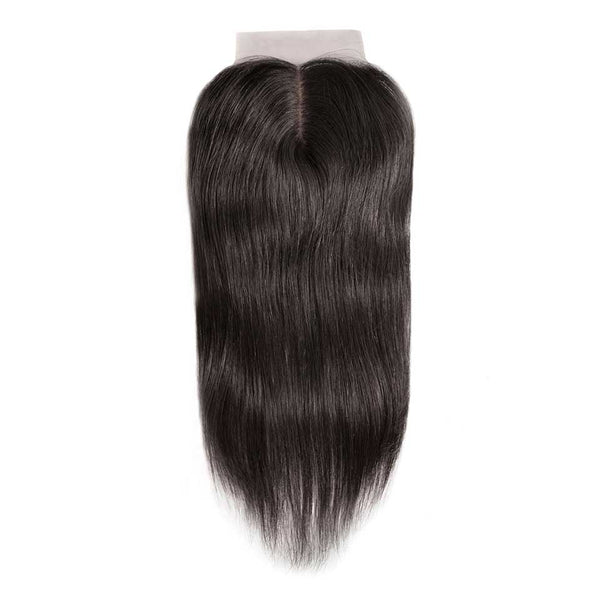 Straight Natural Black Silk Base Closure With Baby Hair