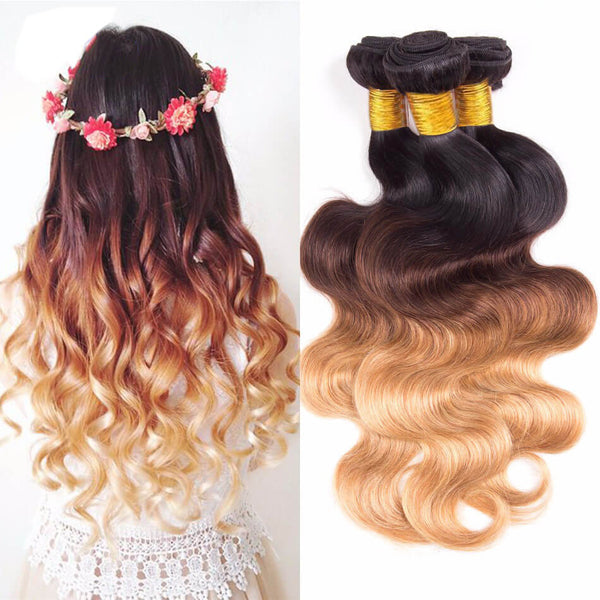 Straight/Body Wave Ombre Hair Three Tone Colored #1B/4#/27# 100% Human Hair Weave Extensions