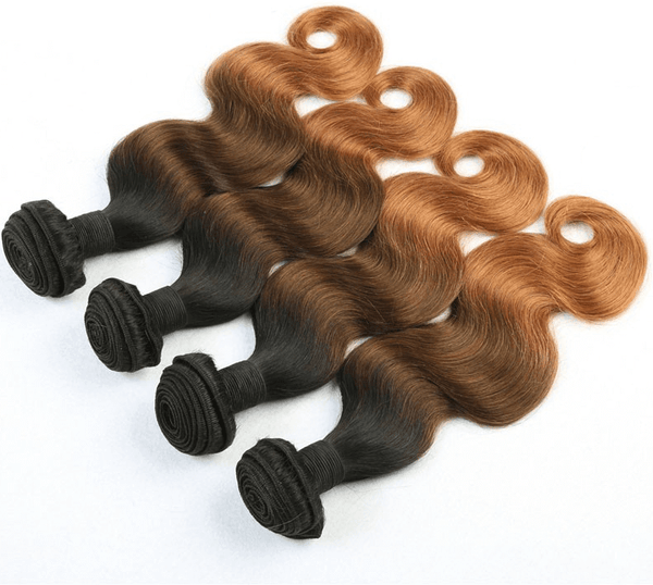 Straight/Body Wave Ombre Hair Three Tone Colored #1B/4#/30# 100% Human Hair Weave Extensions