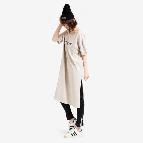 BLOCKED OVER-DYE LOGO TEE DRESS
