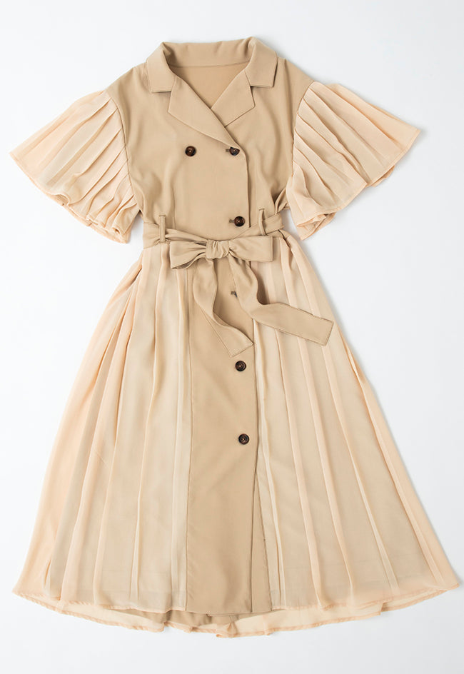 【古川優香】TRENCH PLEATED DRESS