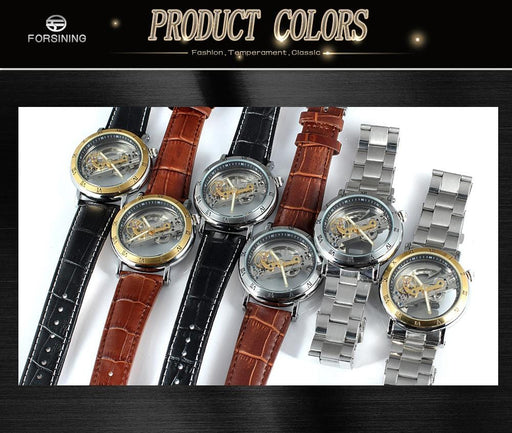 2019 Forsining double-sided transparent mechanical watch