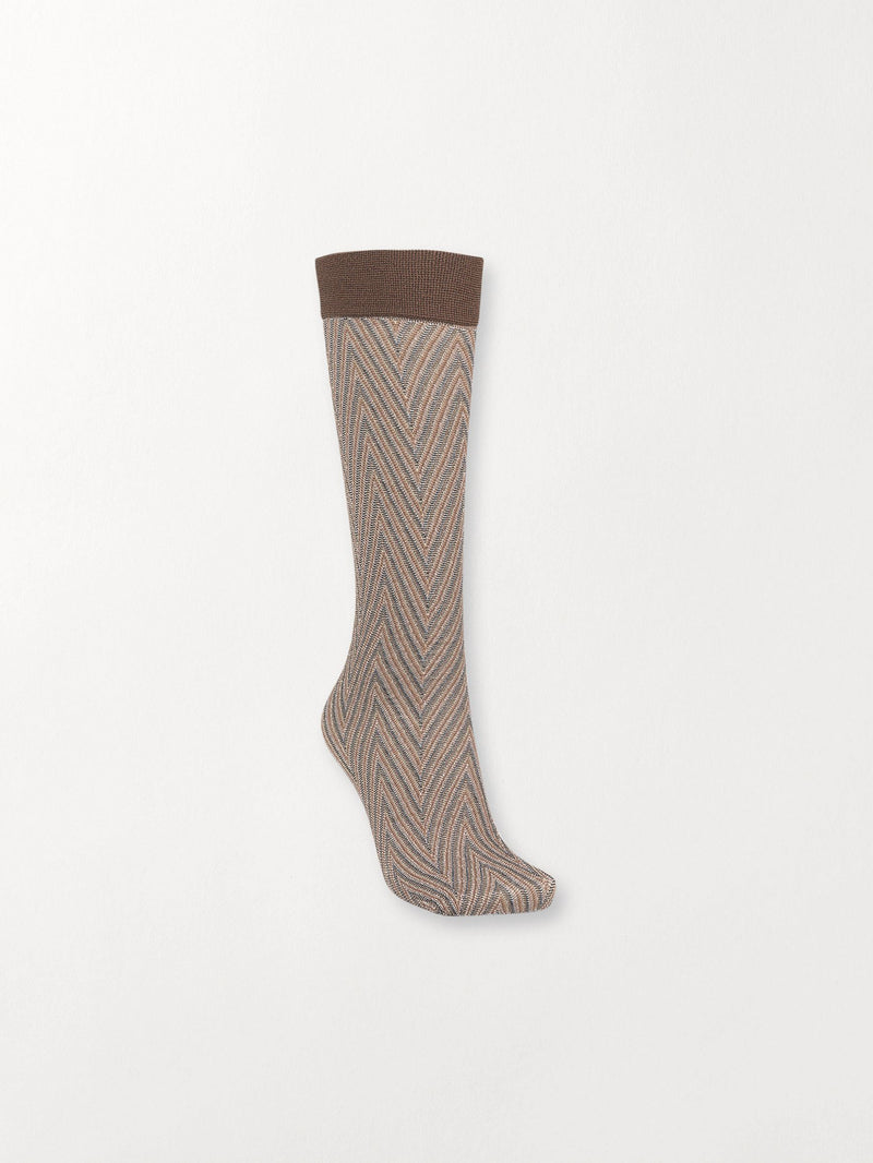 Becksöndergaard, Duca Zig Zag Sock - Brownish, outlet flash sale, outlet flash sale
