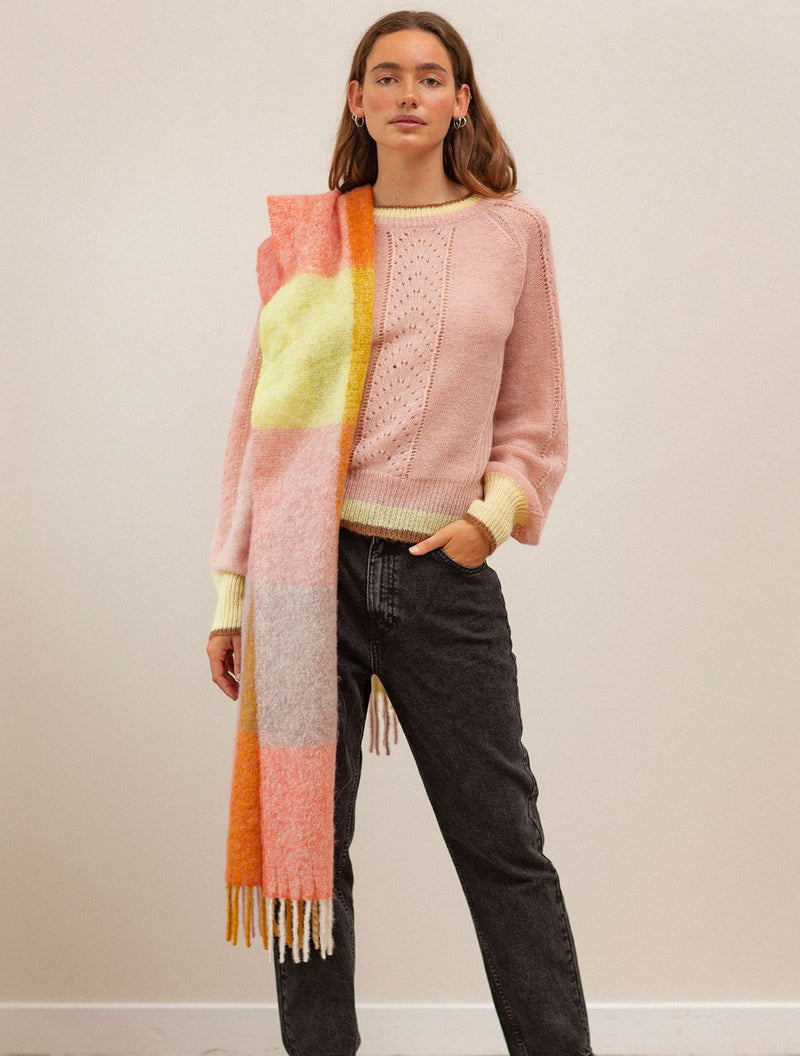 Becksöndergaard, Check Ingria Scarf - Rose , outlet, outlet, sale, sale
