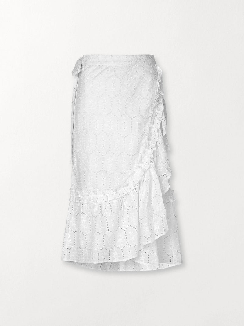 Becksöndergaard, Anglaise Camillia Long Skirt  - White, clothing, clothing, outlet, outlet