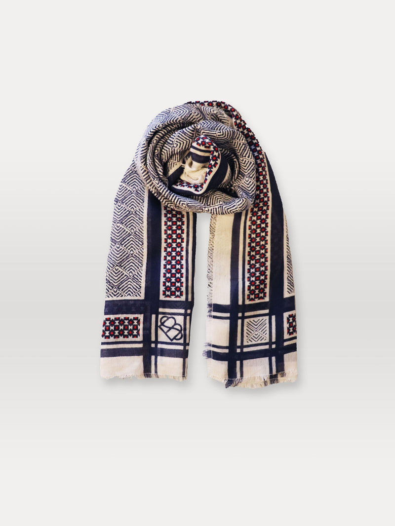 Becksöndergaard, Chevsquare Siw Scarf  - Blue, scarves, outlet flash sale, outlet flash sale, mid season sale, mid season sale, sale, sale