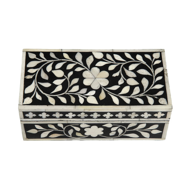 Small Bone Inlay Box - Black Floral – Abacus and Hunt