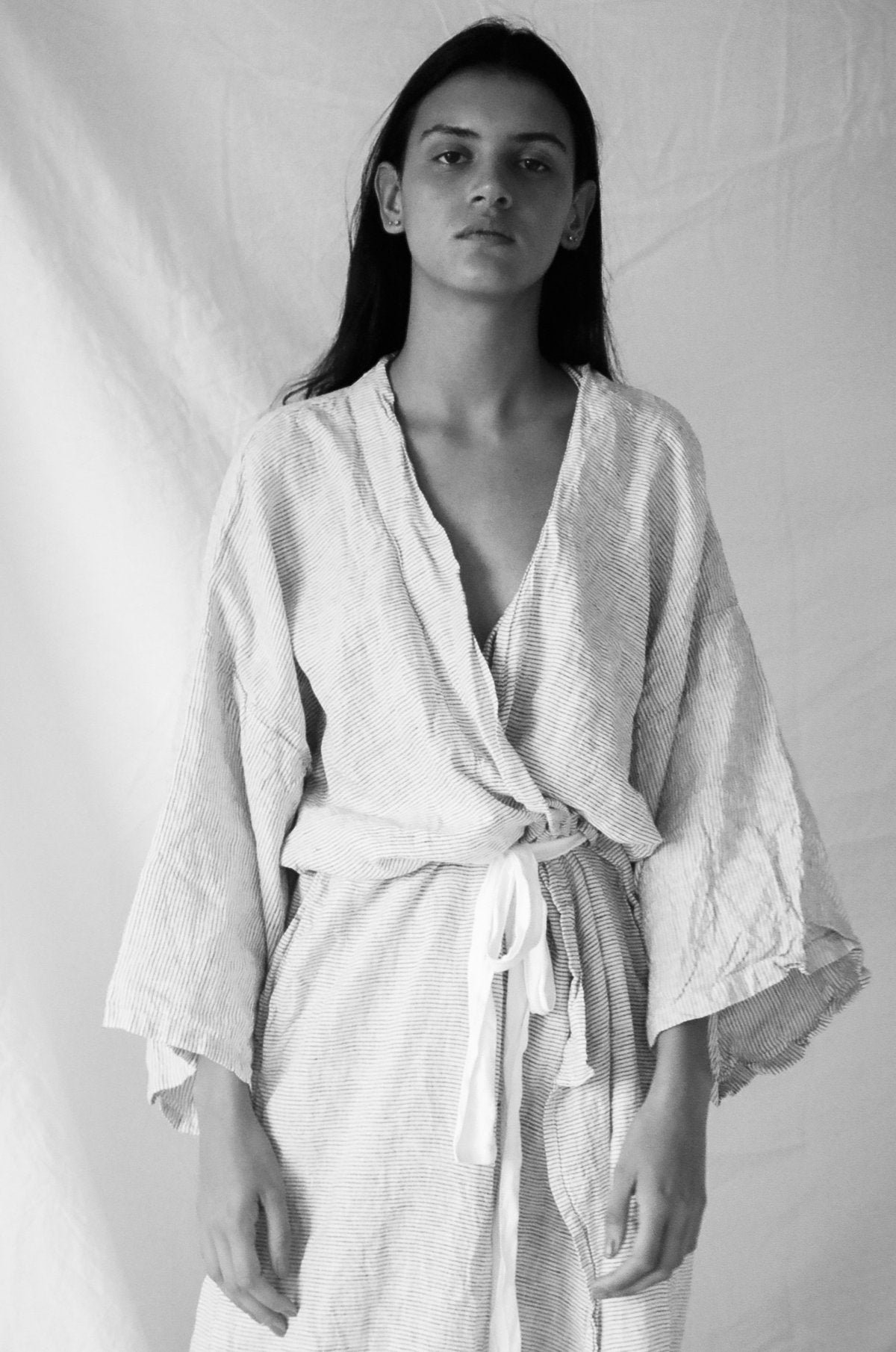The 02 Full Length Robe in Pinstripe