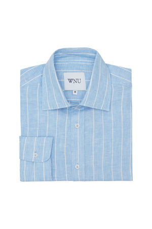 LINEN: Sky Blue & White stripe