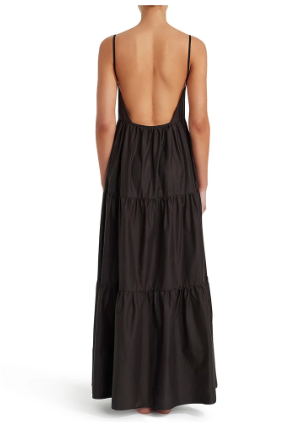 Tiered Low Back Sundress (Black)