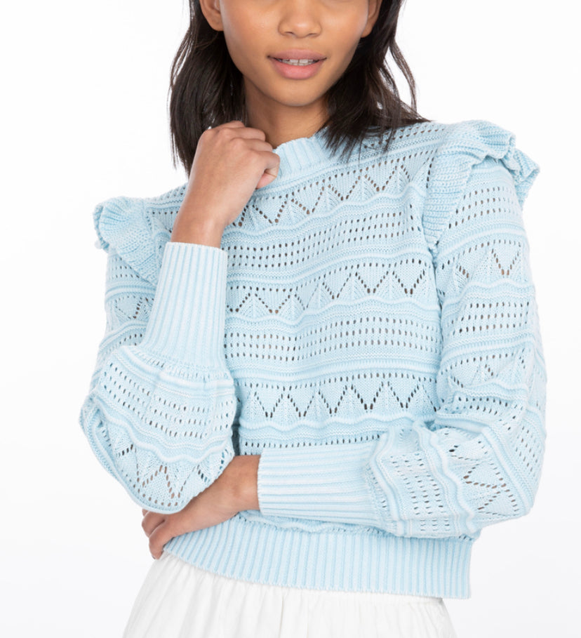 Sienna Pointelle Ruffle Sweater