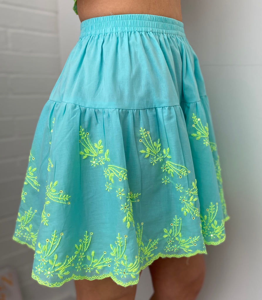 Lotus Embroidery Mini Skirt