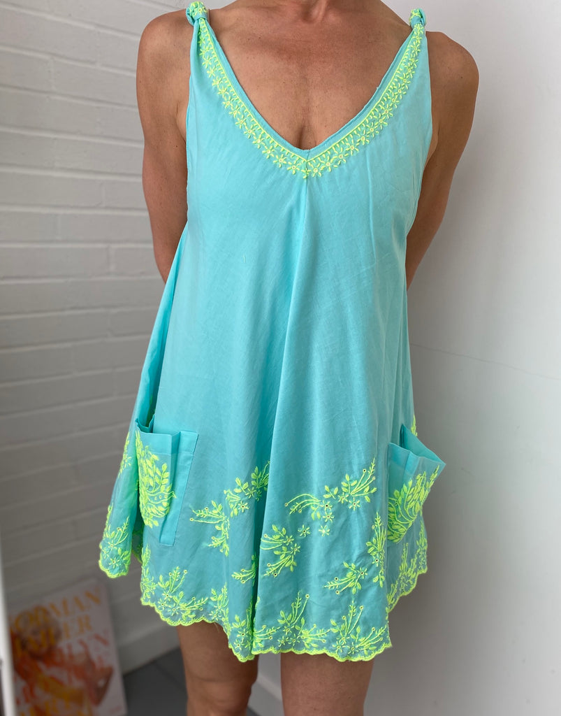 Lotus Embroidery Swing Dress