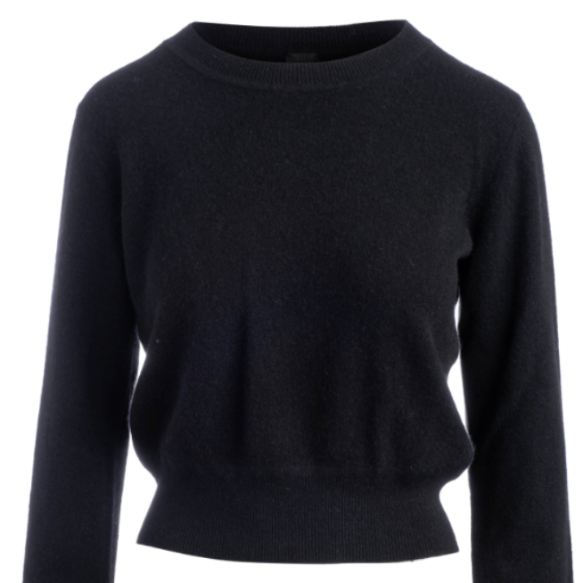 Long Sleeve Cropped Cashmere Pullover