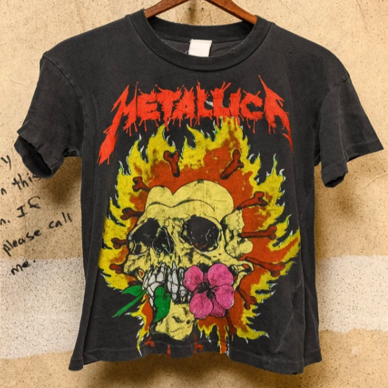 Metallica Skull on Fire Crop Tee