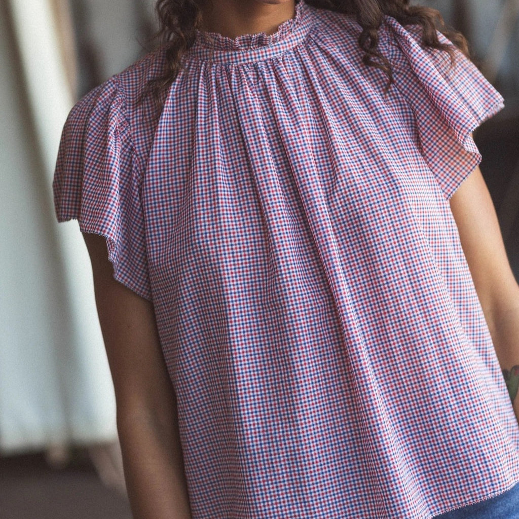 Carla High Neck Shirt Mini Check
