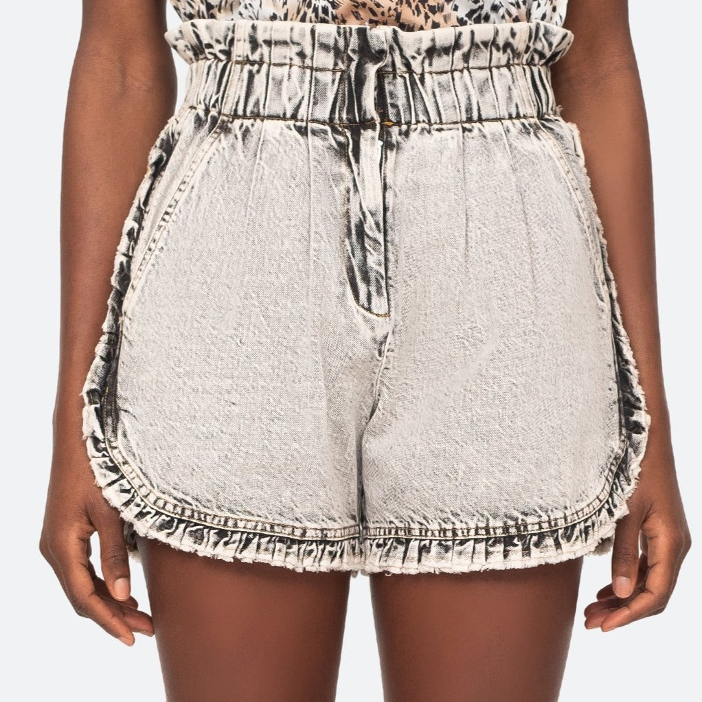 Dax Acid Wash Denim Ruffle Shorts
