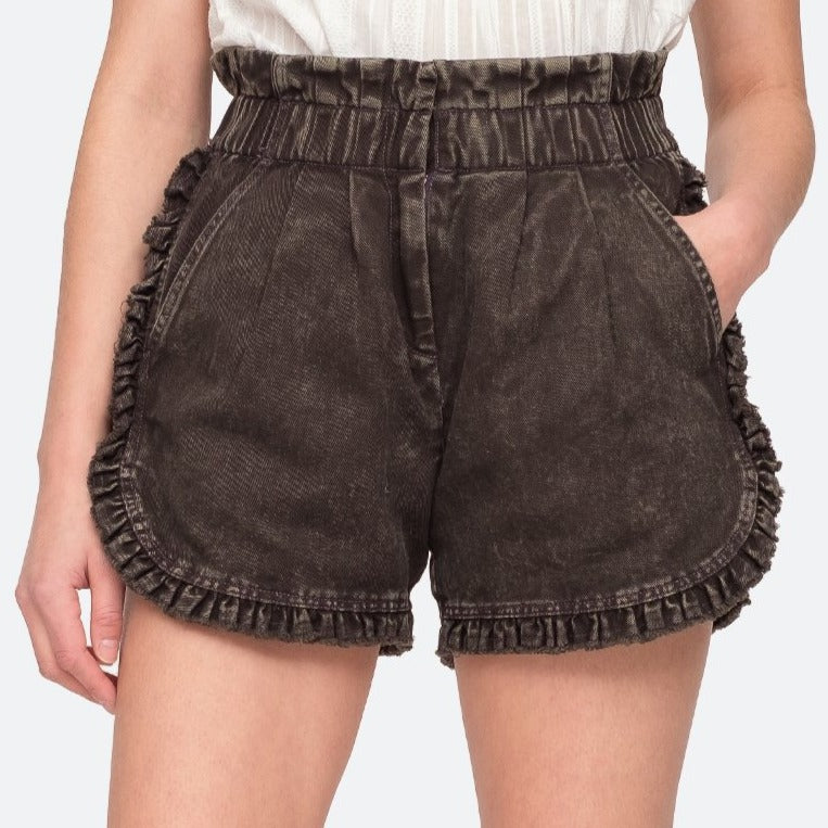 Idun Denim Ruffle Shorts