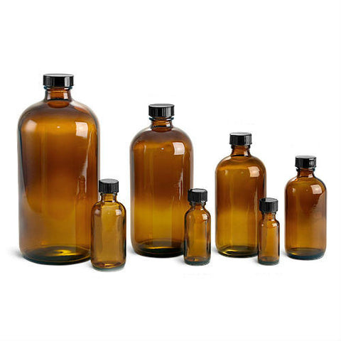 Amber Glass Bottle with Cap